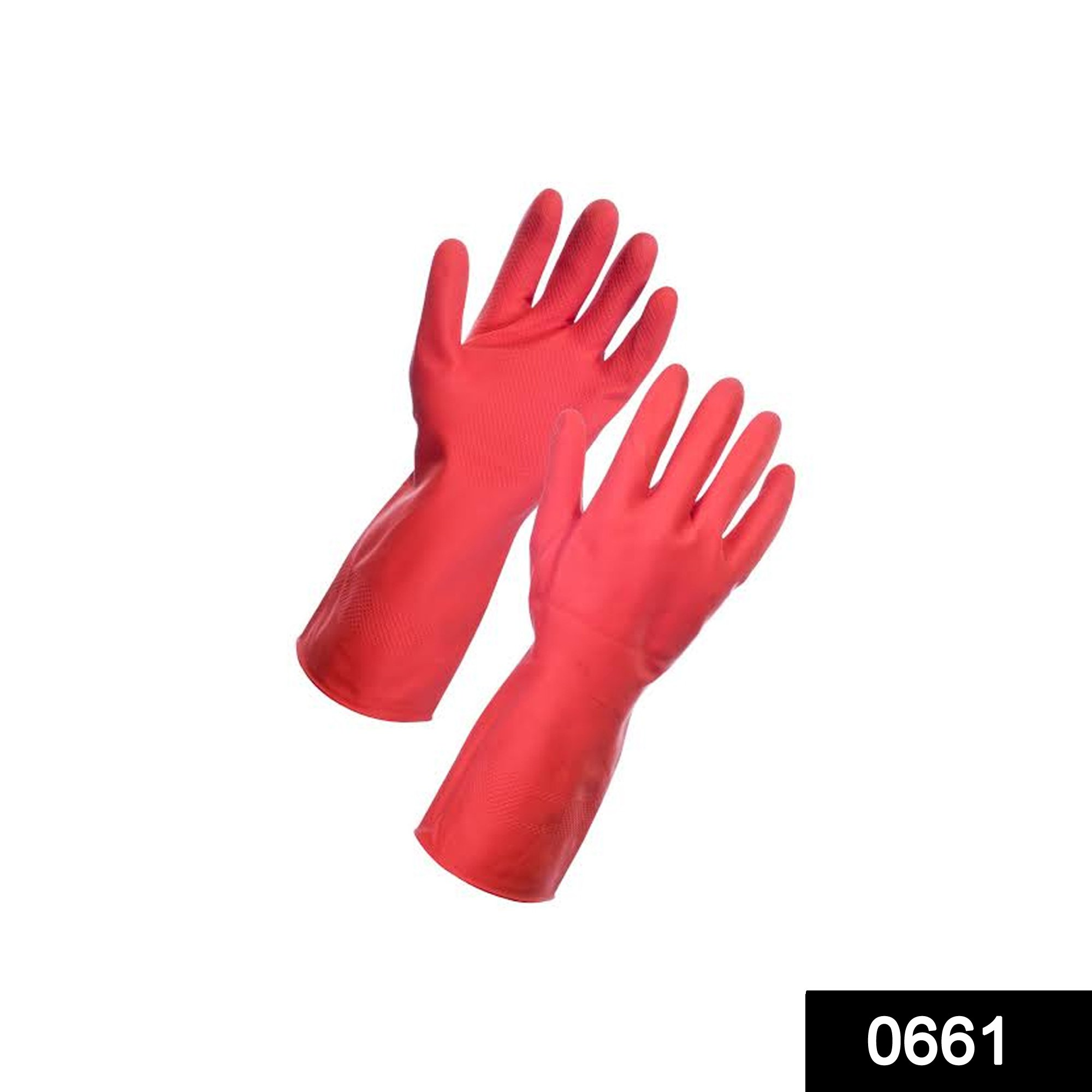 0661 - Flock line Reusable Rubber Hand Gloves (Red) - 1pc -