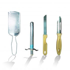 2030 4In1 Combo - Stainless Steel Kitchen Lighter, Knife, Peeler and Smooth Grater -