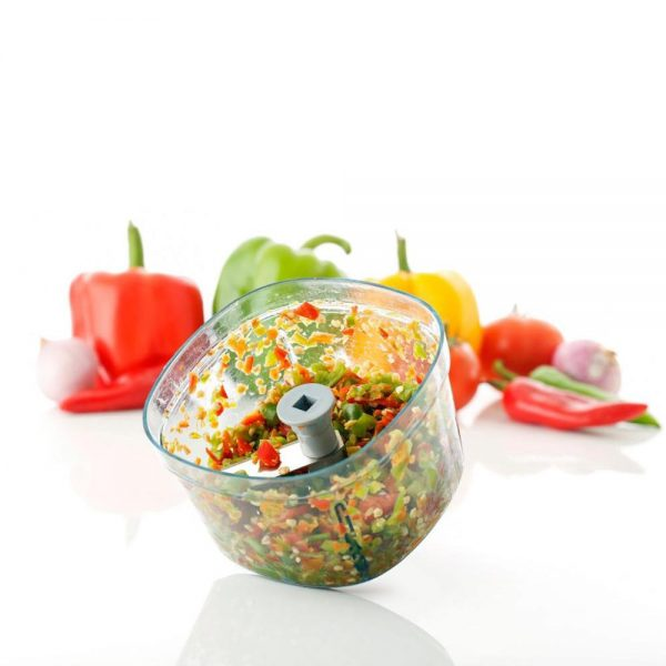 2350 Square Shape Manual Handy and Compact Vegetable Chopper/Blender (600Ml) -