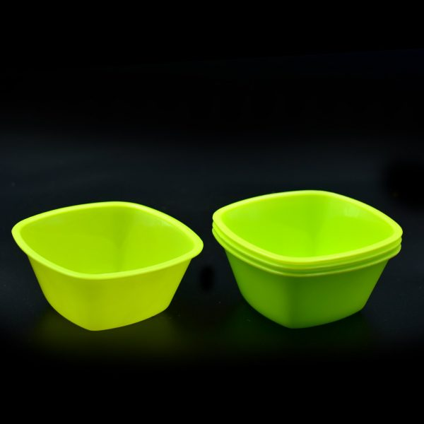 2427 Square Plastic Bowl For Serving Food (Pack of 4) -