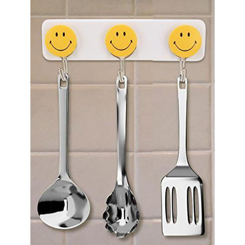 1111 Self Adhesive Smiley Face Wall Hooks (Pack of 3) -
