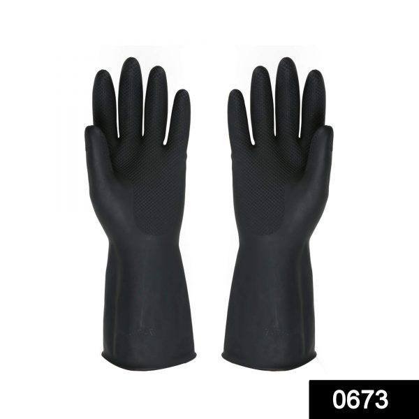 0673 Multipurpose Natural Gum Rubber Reusable Cleaning Gloves -