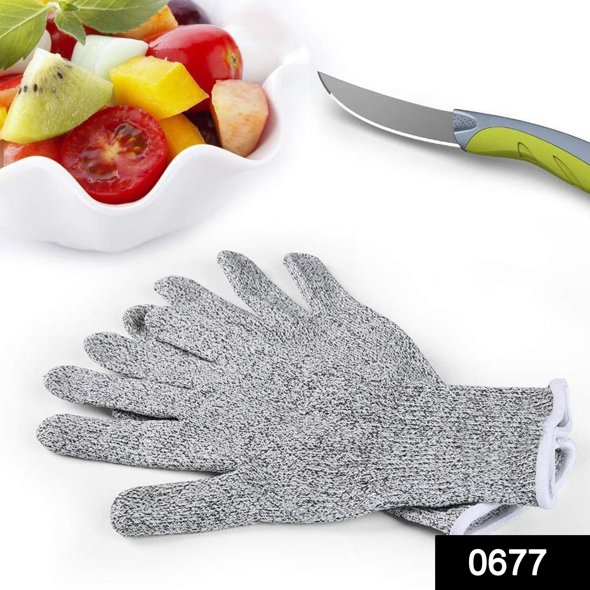 0677 Anti Cutting Resistant Hand Safety Cut-Proof Protection Gloves  (Multicolour) -
