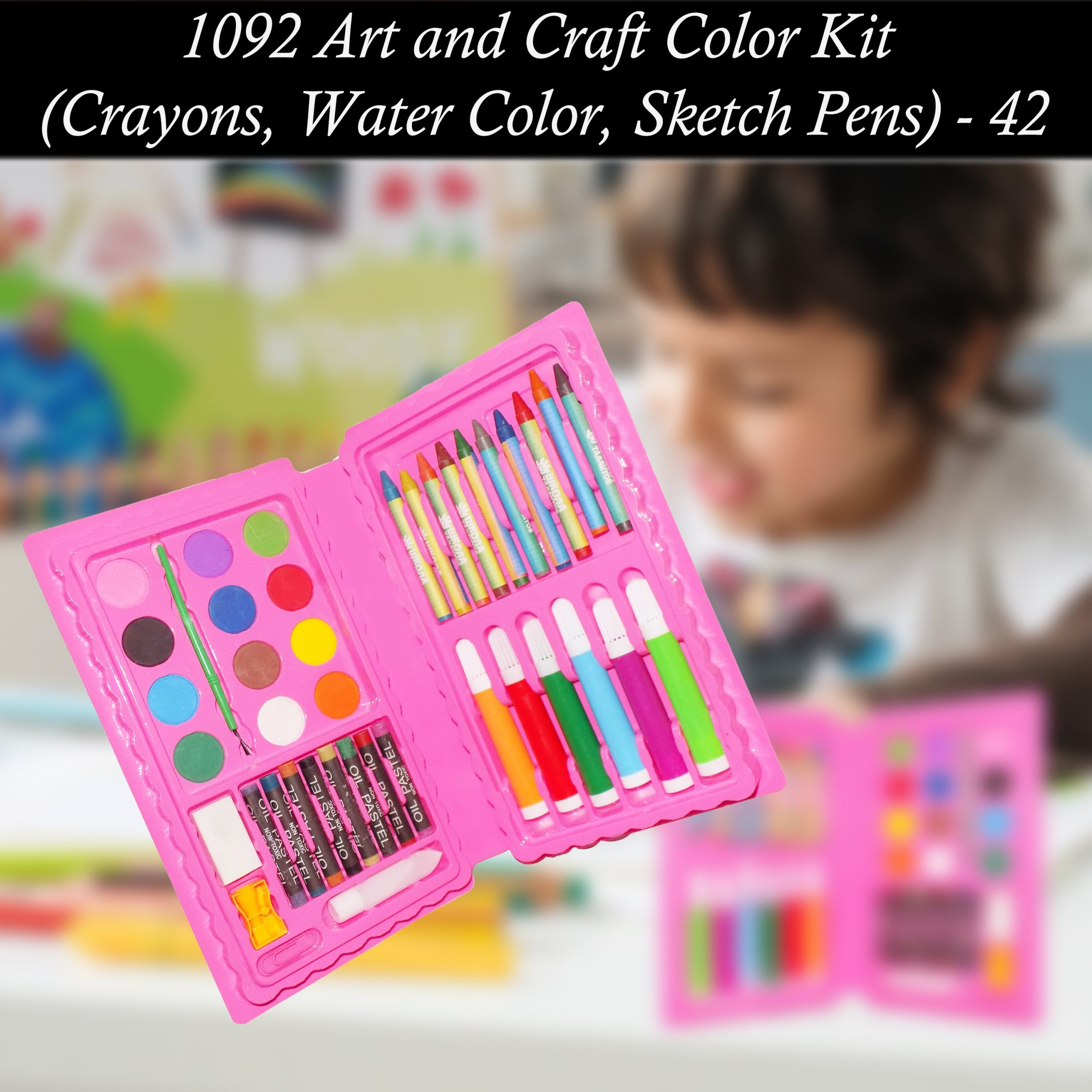 1092 Art and Craft Color Kit (Crayons, Water Color, Sketch Pens) - 42 Pcs -
