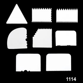 1114 Cake Scraper Icing Smoother Tool for Cake Decorating (Set of 8 Pcs) -