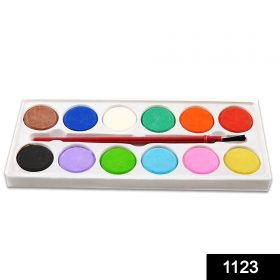 1123 Painting Water Color Kit - 12 Shades and Paint Brush (13 Pcs) -