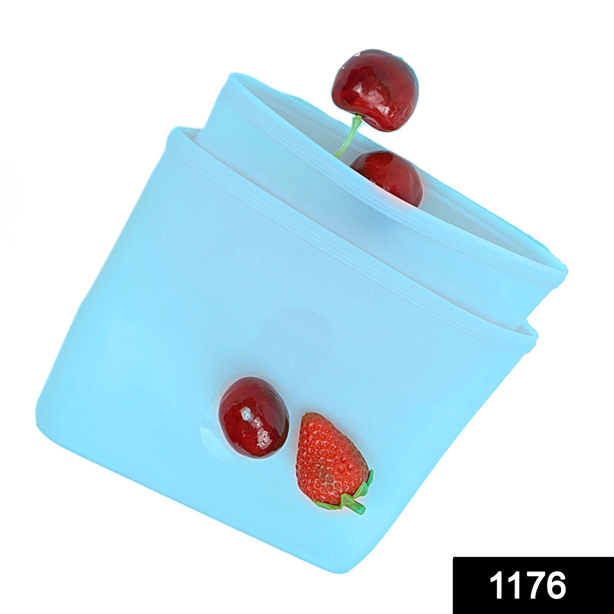 1176 Reusable Airtight Seal Storage Freezer Leak-Proof Silicone Food Bag (Pack of 2) (350ml & 750ml) -