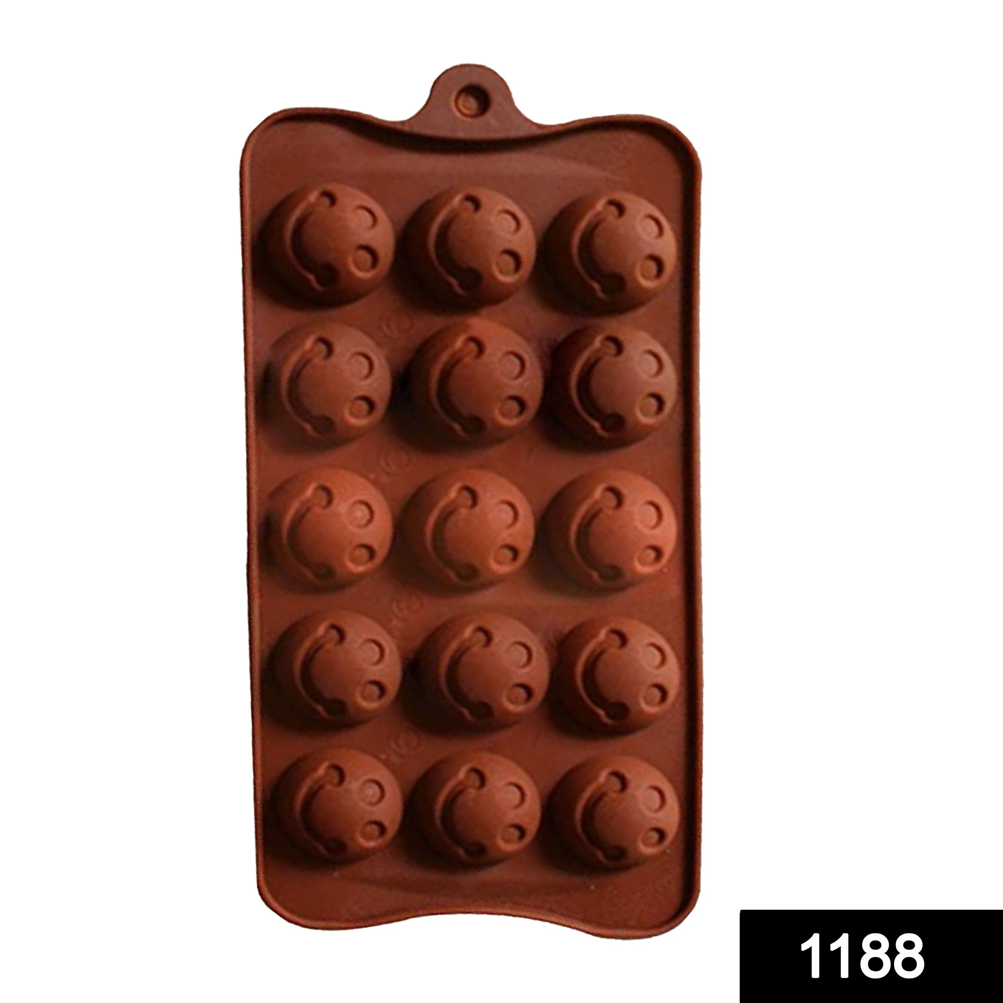 1188 Food Grade Non-Stick Reusable Silicone Smile Shape 15 Cavity Chocolate Molds / Baking Trays -
