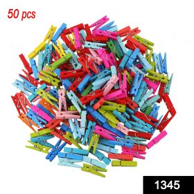 1345 Multipurpose Wooden Clips /Cloth Pegs (Small, 50 Pcs) -