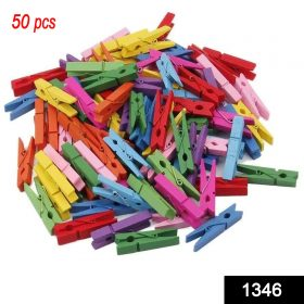 1346 Wooden Clips for Photo Hanging & Home Decoration Pin Clips (Pack of 50) -