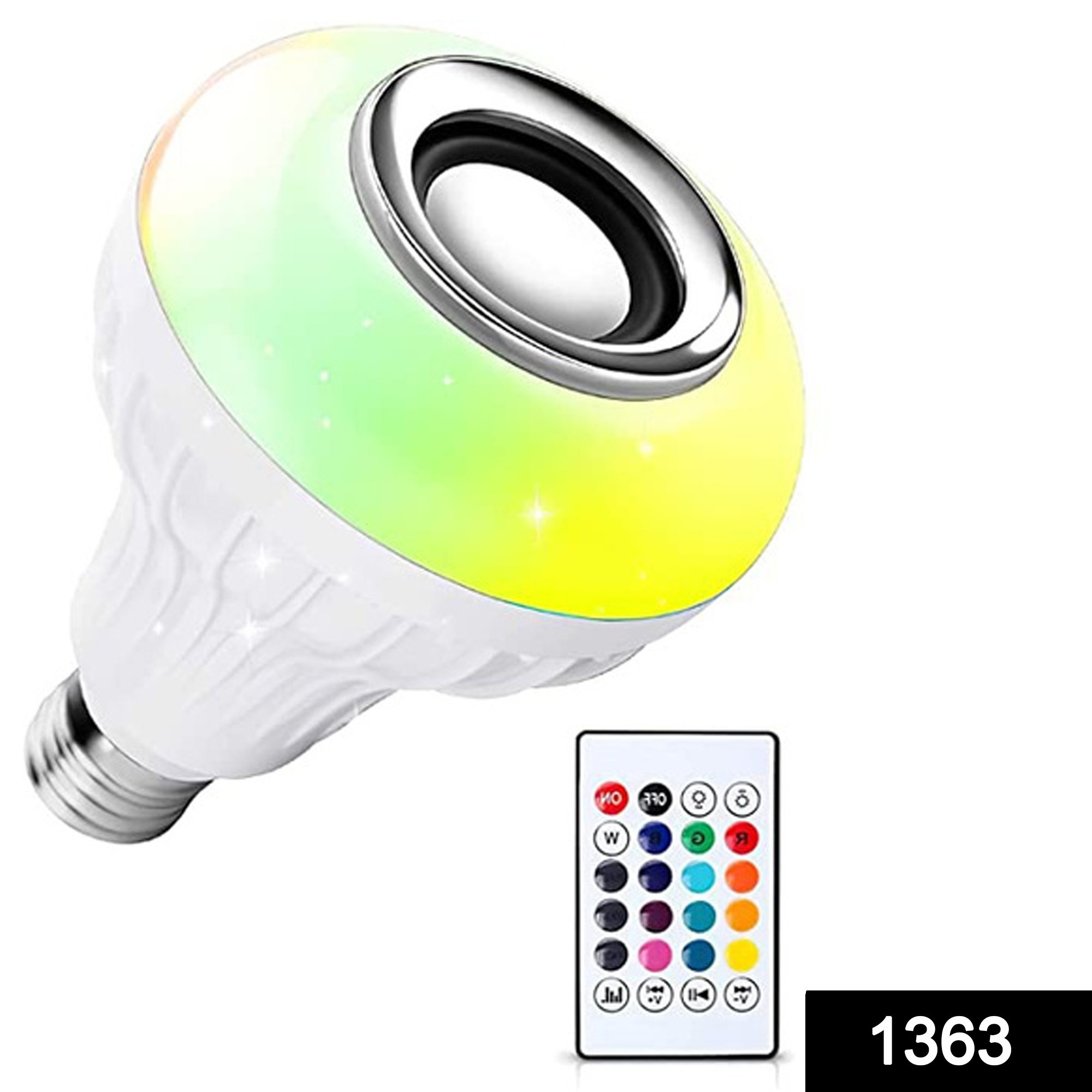 1363 Wireless Bluetooth Sensor 12W Music Multicolor LED Bulb with Remote Controller -
