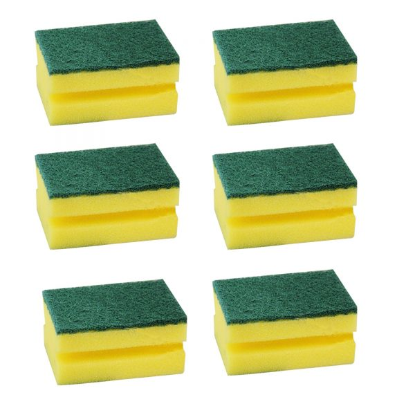 1429 Scrub Sponge 2 in 1 PAD for Kitchen, Sink, Bathroom Cleaning Scrubber (6 pc) -