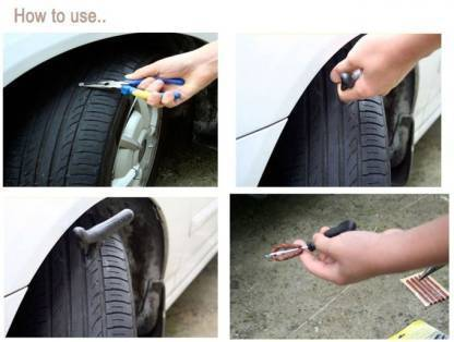 1513 Puncture Repair Kit Tubeless Tyre Full Set with Nose Pliers, Rubber Cement and Extra Strips for Cars, Bikes -