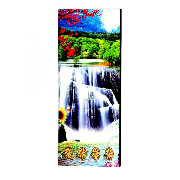1583 Decorative Wooden Vertical Scenery with Hooks for Wall Hanging -