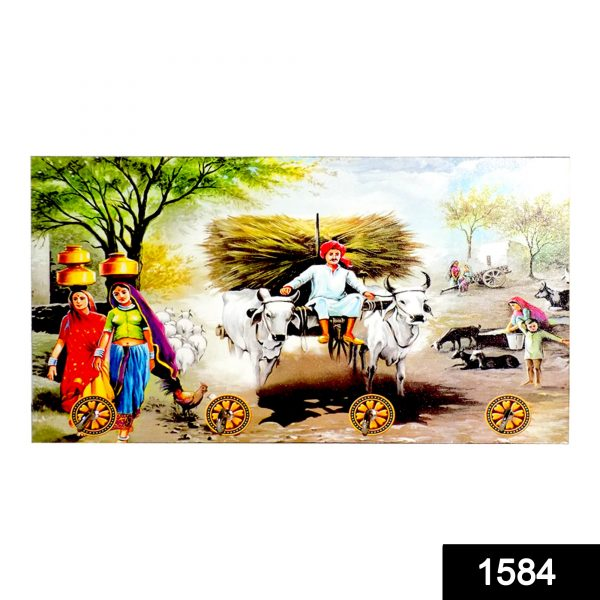 1584 Decorative Wooden Landscape Art with Hooks for Wall Hanging -