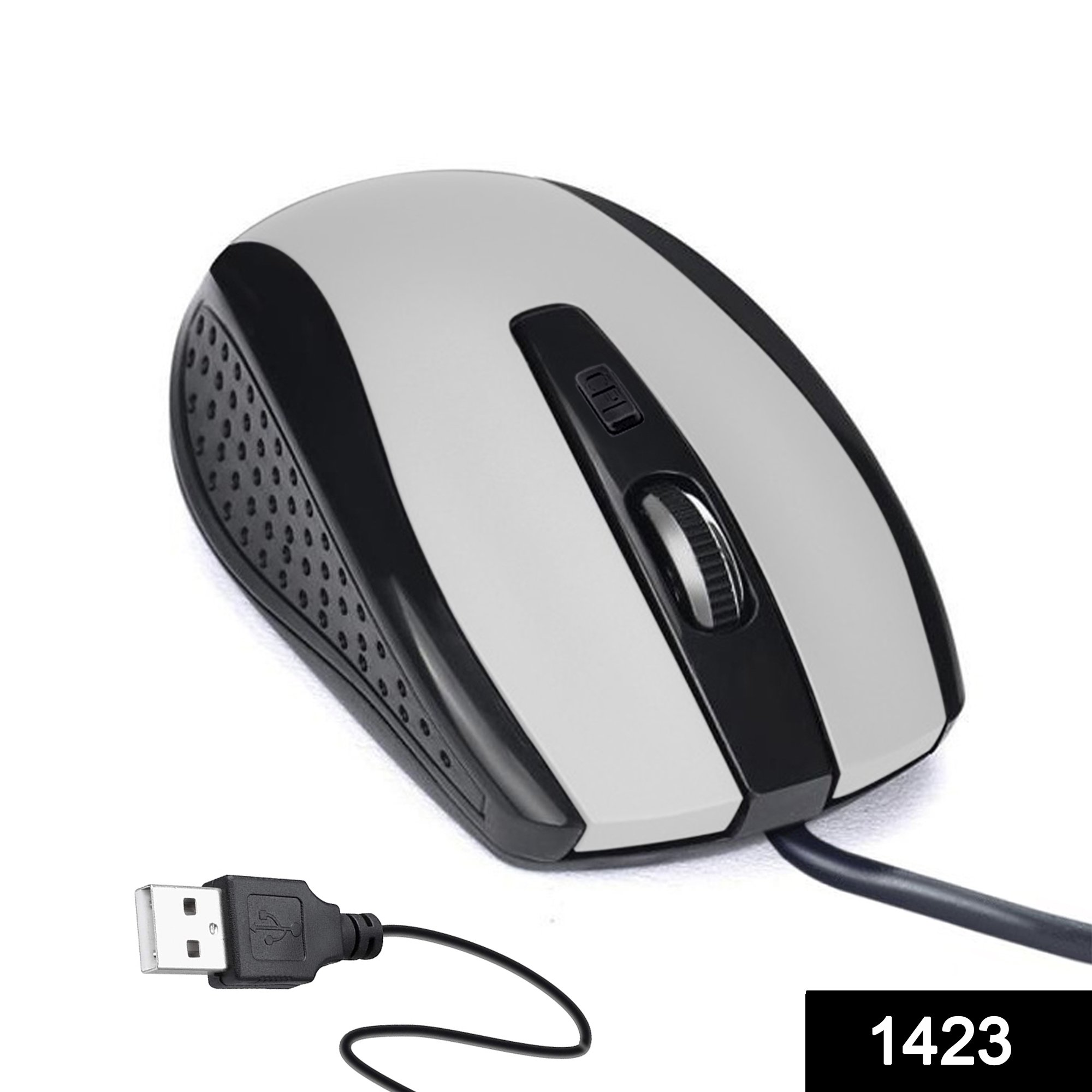 1423 Wired Mouse for Laptop and Desktop Computer PC With Faster Response Time (Silver) -