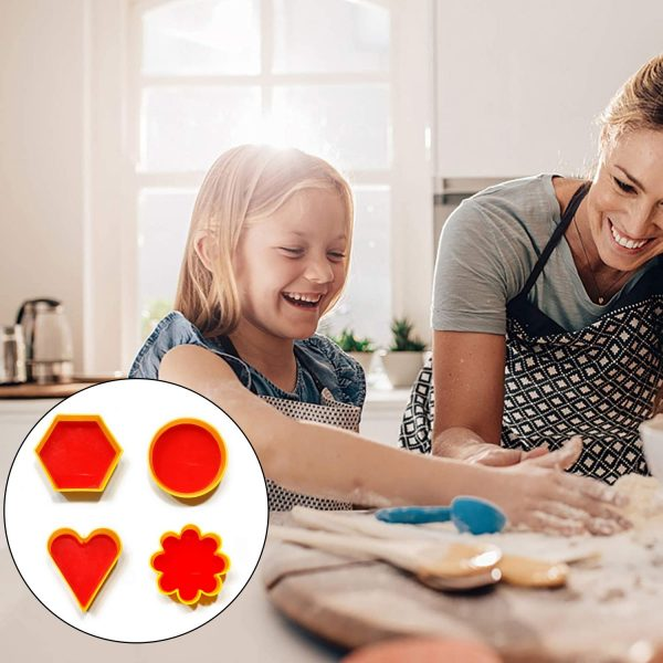 2424 Cookie Cutter with Shape Heart Round Star and Flower (4 Pack) -