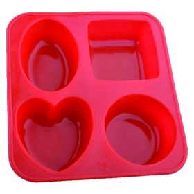 0773 Silicone Circle, Square, Oval and Heart Shape Soap And Mini Cake Making Mould -