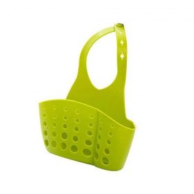 0762 Adjustable Kitchen Bathroom Water Drainage Plastic Basket/Bag with Faucet Sink Caddy -