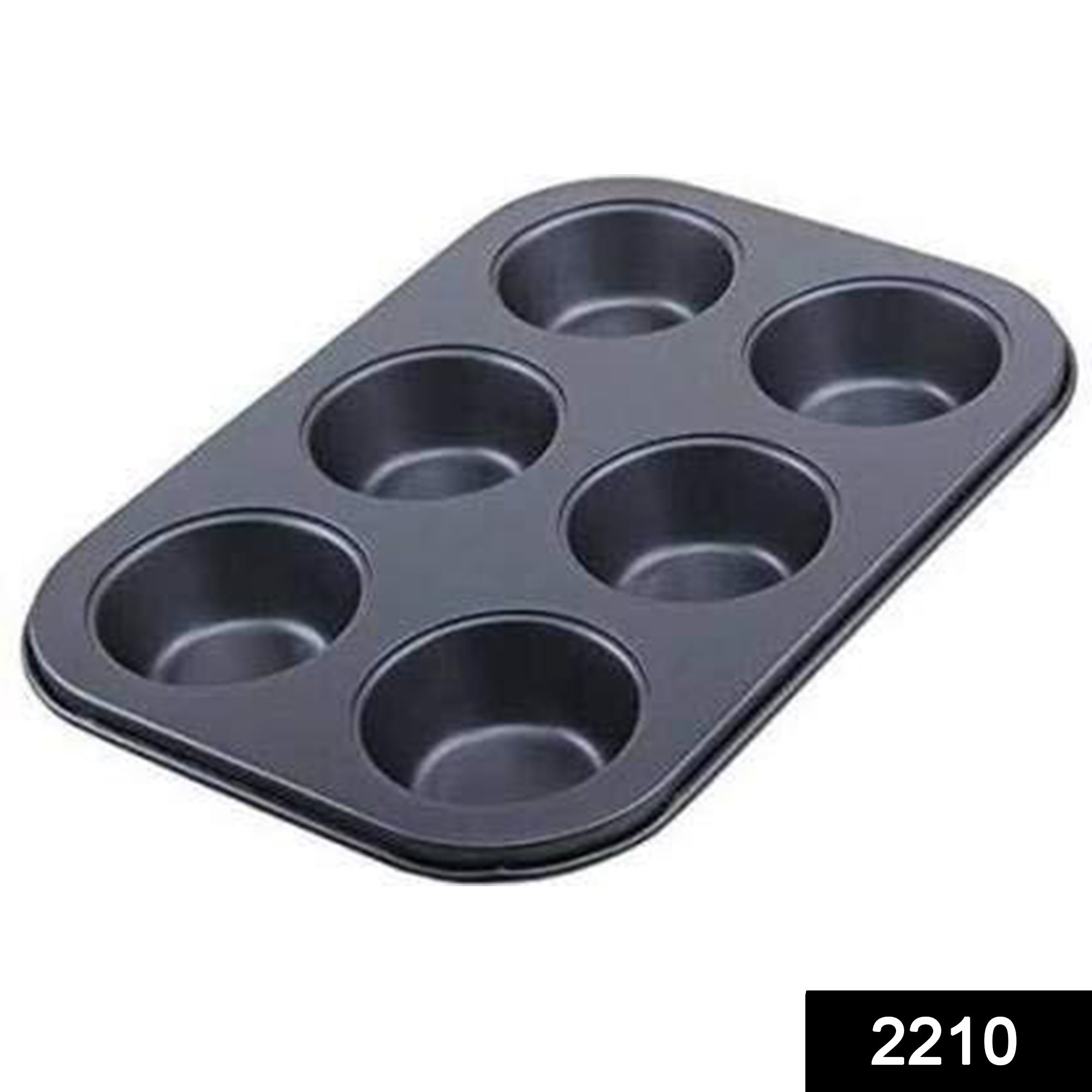 2210 Non-Stick Reusable Cupcake Baking Slot Tray for 6 Muffin Cup -
