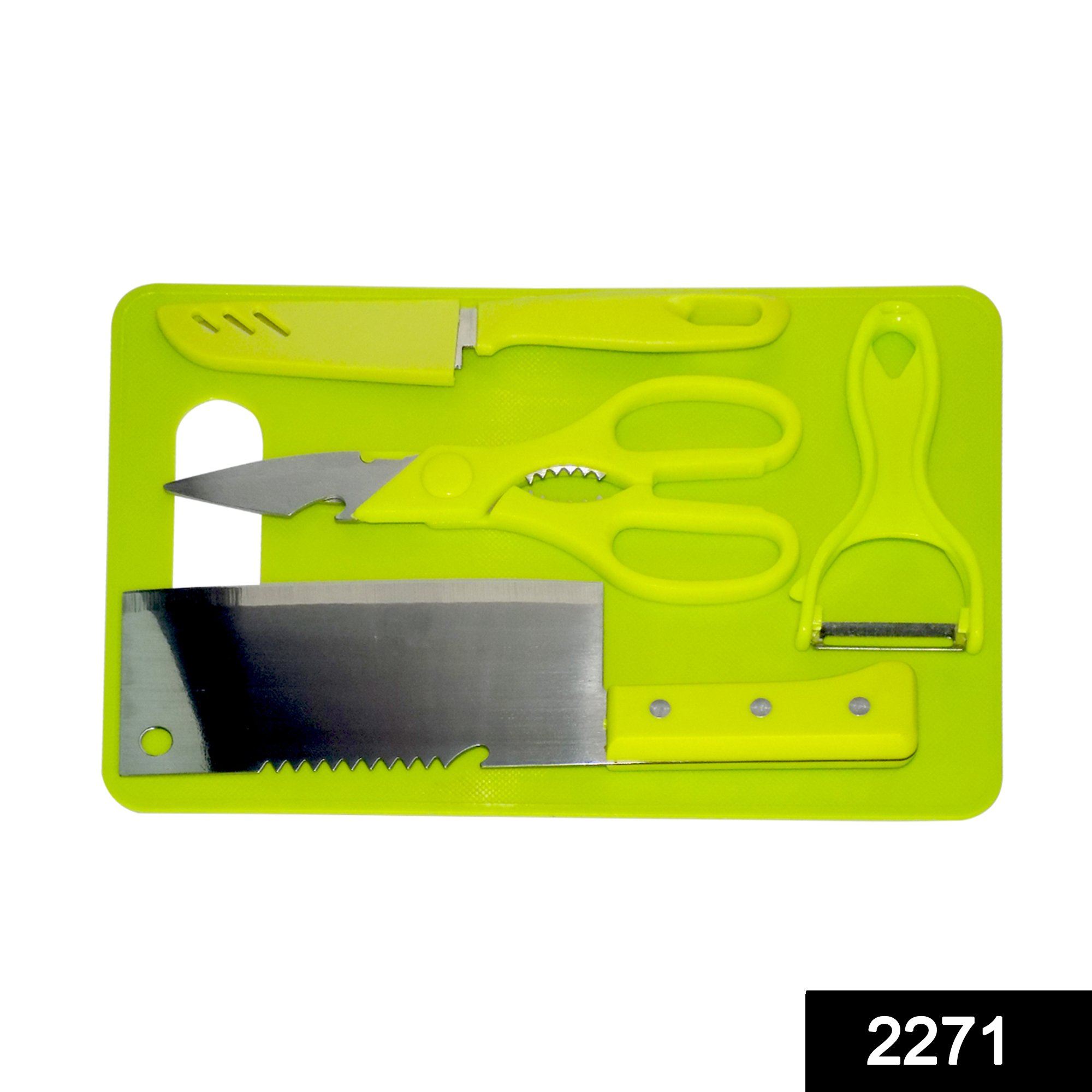 2271 Premium Stainless Steel Kitchen Chopping Tool Set (Butcher Knife, Peeler, Standard Knife and Kitchen Scissor with Chopping Board) - 5 Pcs -