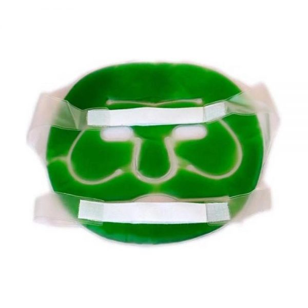 0402 Plastic Reusable Anti Stress Cooling Gel Face Mask with Strap-on Velcro (Green) -