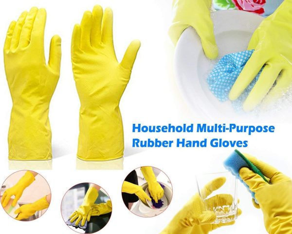 0662 - Flock line Reusable Rubber Hand Gloves (Yellow 2 tone) - 1pc -