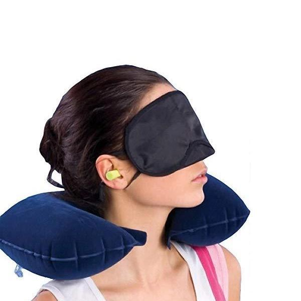 0505 -3-in-1 Air Travel Kit with Pillow, Ear Buds & Eye Mask -