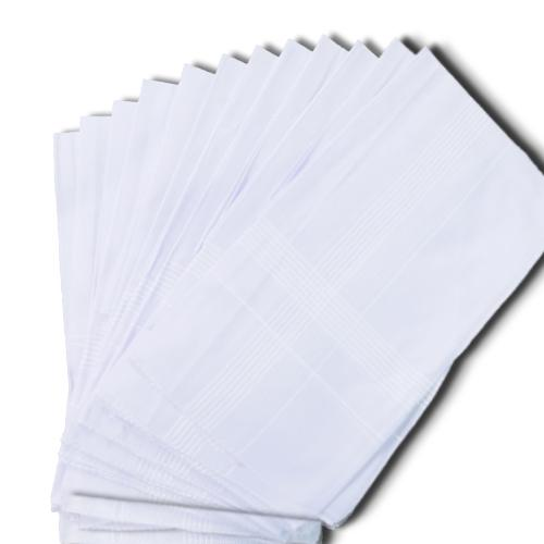 1537 Men's King Size Formal Handkerchiefs for Office Use - Pack of 12 -