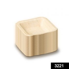 3221 Disposable Square Shape Eco-friendly Areca Palm Leaf Bowl (4x4 inch) (pack of 25) -