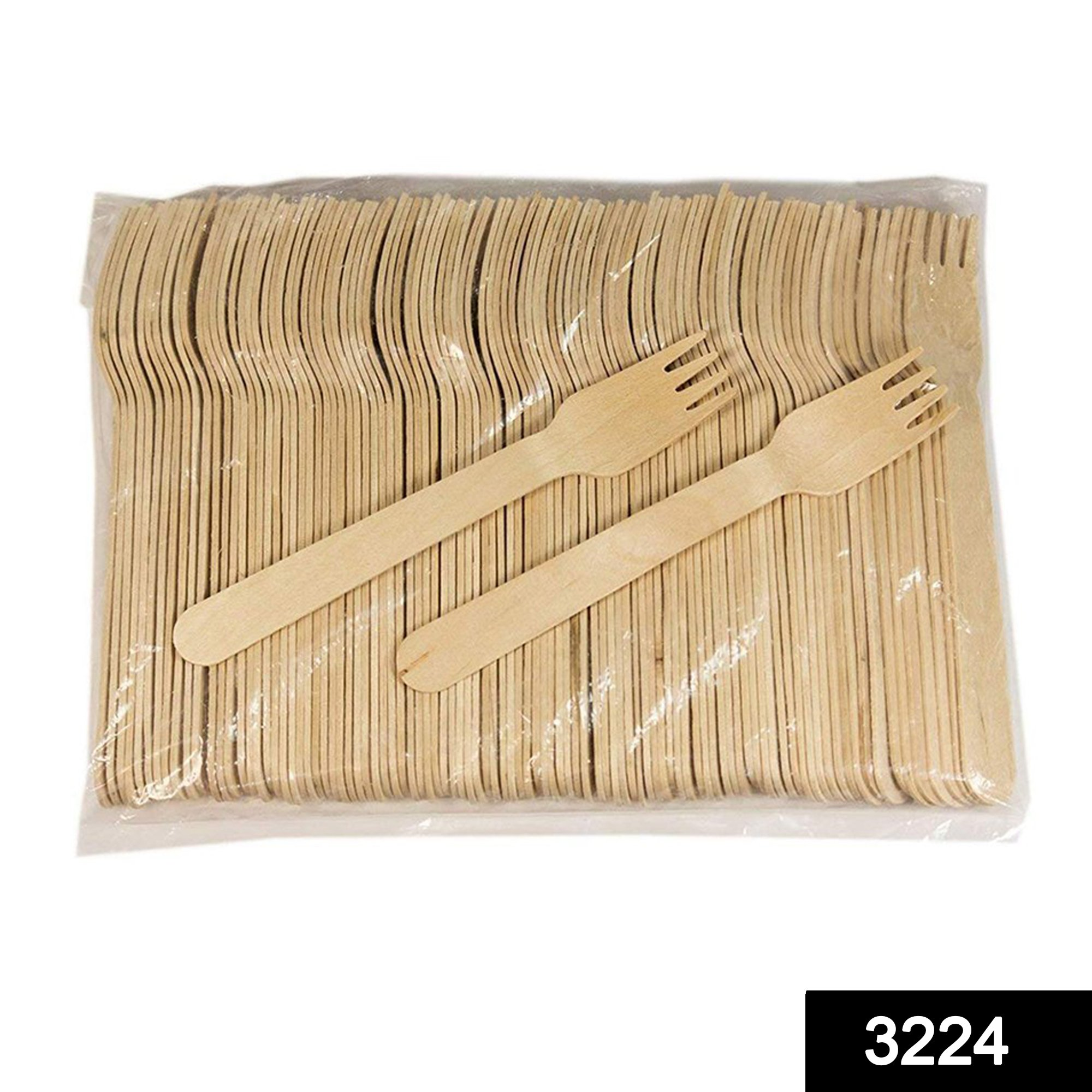 3224 Disposable Eco-friendly Wooden Fork (Pack of 100) -