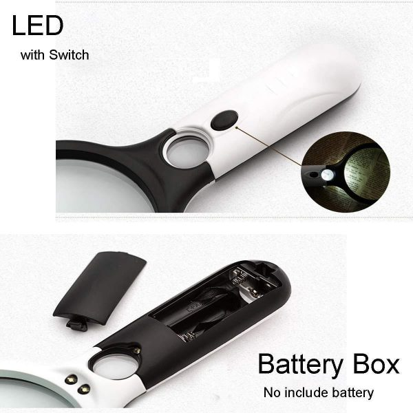 0449 Handheld Reading Magnifier Glass 3X, 45X with 3 LED Lights for Reading/Maps/Watch Repair -