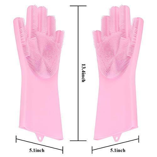 0714 Reusable Silicone Cleaning Brush Scrubber Gloves (Multicolor) -