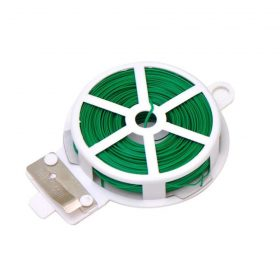 0873 Plastic Twist Tie Wire Spool With Cutter For Garden Yard Plant 50m (Green) -