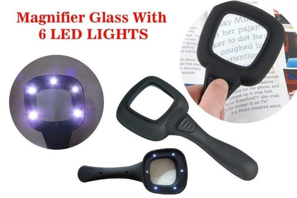 0557 Hand Held Optical Grade Magnifying Glass with 6 LED Lights -