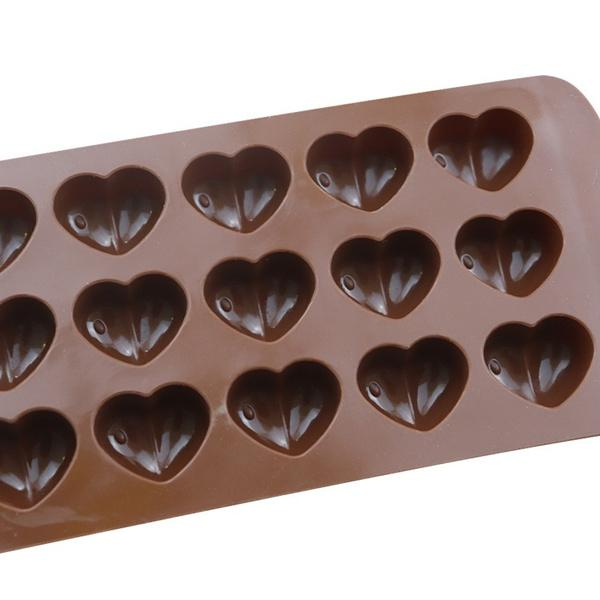 1187 Food Grade Non-Stick Reusable Silicone Heart Shape 15 Cavity Chocolate Molds / Baking Trays -