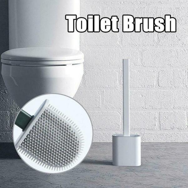 1398 Silicon Toilet Brush with Slim Holder Stand& Flat Head with Flexible Soft Bristles -
