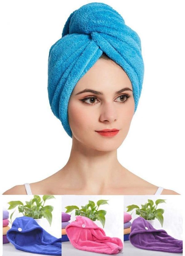 1408 Quick Turban Hair-Drying Absorbent Microfiber Towel/Dry Shower Caps (1 Pc) -