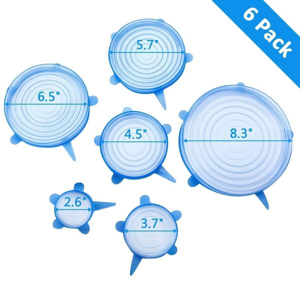 2154 Silicone Stretch Lids Reuseable Microwave Safe Flexible Covers (Set of 6) (Loose Pack) -