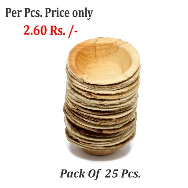 3213 Disposable Round Shape Eco-friendly Areca Palm Leaf Bowl (5x5 inch) (pack of 25) -