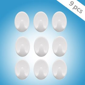 1544 Self Adhesive Plastic Wall Hook Set for Home Kitchen and Other Places (Pack of 9) -