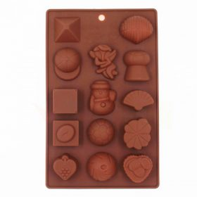3502 Silicone Chocolate Molds Reusable Multi Shape 14 Cavity Candy Baking Mold (Brown, 8-inch) Pack of 1 -
