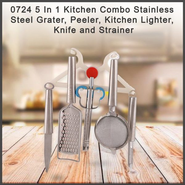 0724 5 In 1 Kitchen Combo - Stainless Steel Grater, Peeler, Kitchen Lighter, Knife and Strainer -