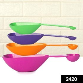 2420 Plastic Double Side Measuring Cups and Spoons for Kitchen (Pack of 4) -