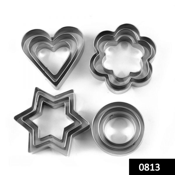 0813 Cookie Cutter Stainless Steel Cookie Cutter with Shape Heart Round Star and Flower (12 Pieces) -
