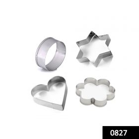 0827 Cookie Cutter Stainless Steel Cookie Cutter with Shape Heart Round Star and Flower (4 Pieces) -