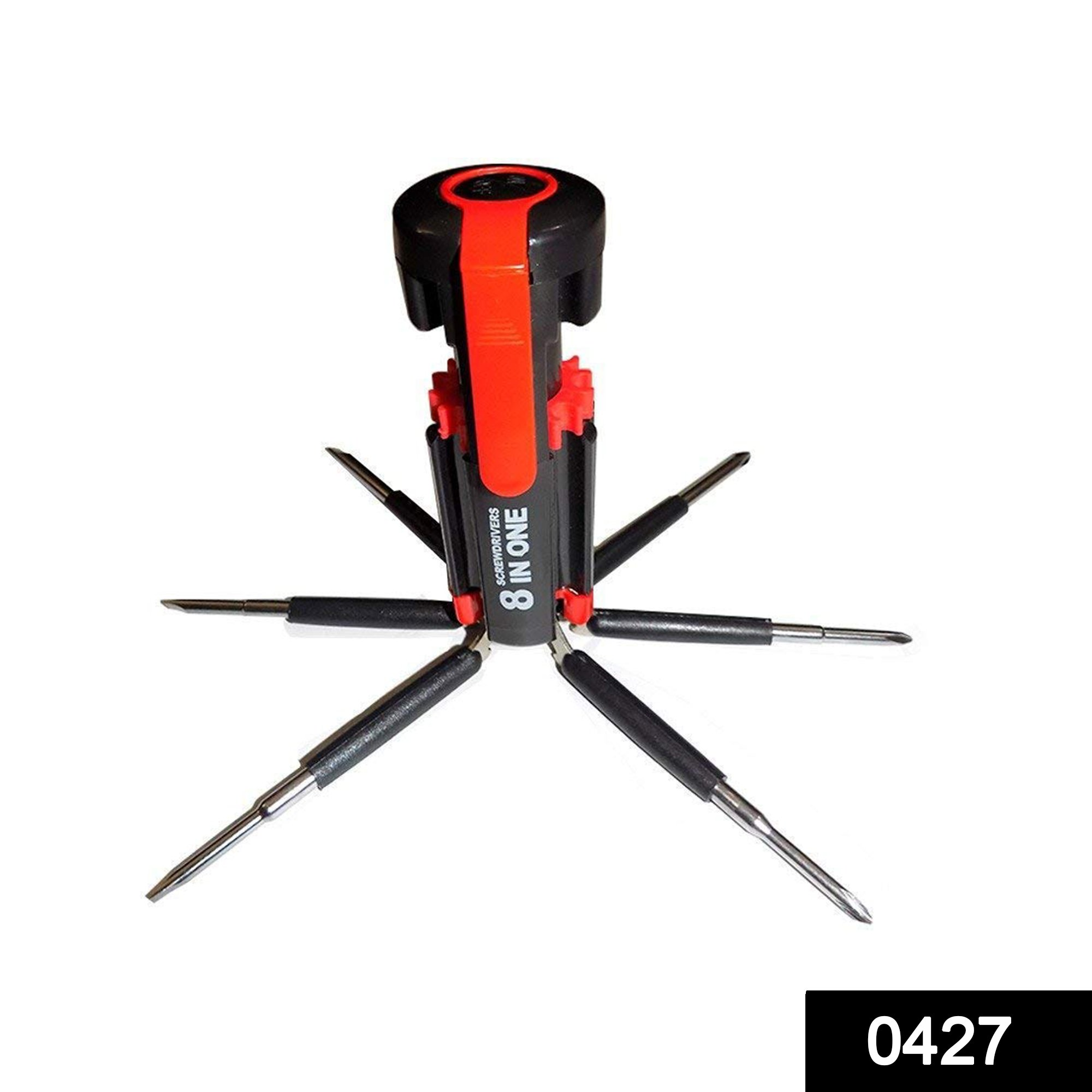 0427 08 in 1 Multi-Function Screwdriver Kit with LED Portable Torch -