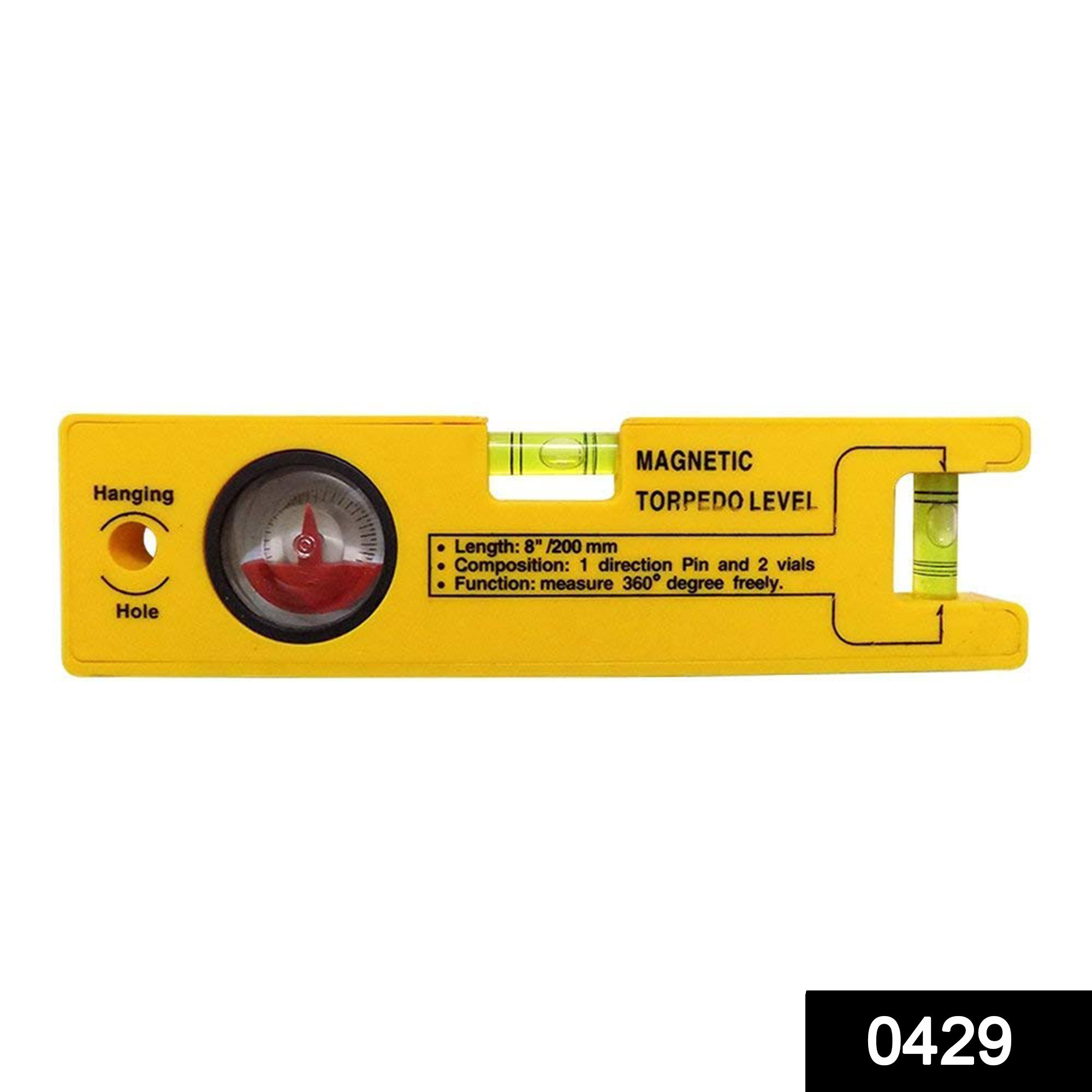 0429 8-inch Magnetic Torpedo Level with 1 Direction Pin, 2 Vials and 360 Degree View -