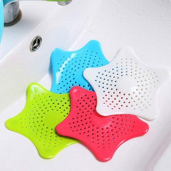 0829 Silicone Star Shaped Sink Filter Bathroom Hair Catcher Drain Strainers for Basin -