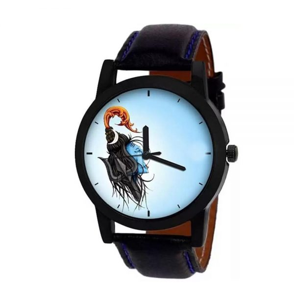 1803 Unique & Premium Analogue Watch Lord Shiva Print Multicolour Dial Leather Strap (Watch 3) -